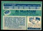1976 O-Pee-Chee NHL #237  Al MacAdam  Back Thumbnail