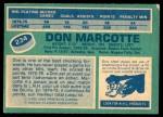1976 O-Pee-Chee NHL #234  Don Marcotte  Back Thumbnail