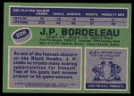 1976 Topps #208  J.P. Bordeleau  Back Thumbnail