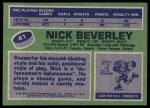 1976 Topps #41  Nick Beverley  Back Thumbnail