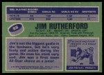 1976 Topps #88  Jim Rutherford  Back Thumbnail
