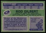 1976 Topps #90  Rod Gilbert  Back Thumbnail