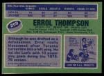 1976 Topps #259  Errol Thompson  Back Thumbnail