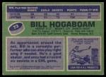 1976 Topps #73  Bill Hogaboam  Back Thumbnail