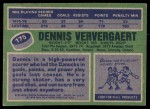 1976 Topps #175  Dennis Ververgaert  Back Thumbnail