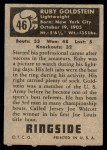 1951 Topps Ringside #46  Ruby Goldstein  Back Thumbnail