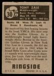 1951 Topps Ringside #30  Tony Zale  Back Thumbnail