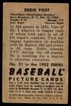 1952 Bowman #31  Eddie Yost  Back Thumbnail