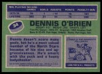 1976 Topps #34  Dennis O'Brien  Back Thumbnail