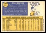 1970 Topps #152  Ike Brown  Back Thumbnail