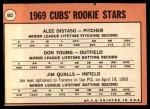 1969 Topps #602 xVIS  -  Alec Distaso / Don Young / Jim Qualls  Cubs Rookies Back Thumbnail