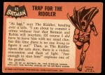 1966 Topps Batman Black Bat #45   Trap for the Riddler Back Thumbnail