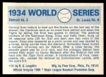 1970 Fleer World Series #31   1934 Cardinals vs. Tigers Back Thumbnail