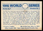 1970 Fleer World Series #13   -  Babe Ruth 1916 Red Sox vs. Dodgers   Back Thumbnail