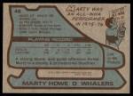 1979 Topps #46  Marty Howe  Back Thumbnail