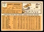 1963 Topps #21 BLU Marty Keough  Back Thumbnail