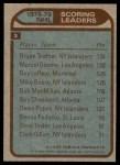 1979 Topps #3   -  Bryan Trottier / Marcel Dionne / Guy LaFleur Scoring Leaders Back Thumbnail