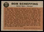 1962 Topps #416  Bob Scheffing  Back Thumbnail