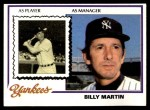 1978 Burger King #1  Billy Martin  Front Thumbnail