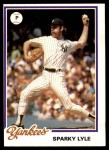 1978 Burger King #9  Sparky Lyle  Front Thumbnail
