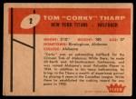 1960 Fleer #2  Corky Tharp  Back Thumbnail