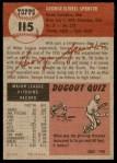 1953 Topps #115  George Spencer  Back Thumbnail