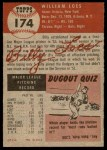 1953 Topps #174  Billy Loes  Back Thumbnail