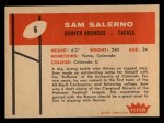 1960 Fleer #6  Sam Salerno  Back Thumbnail