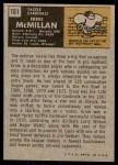 1971 Topps #161  Ernie McMillan  Back Thumbnail