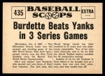 1961 Nu-Card Scoops #435   -   Lew Burdette Burdette Beats Yanks in 3 Series Games Back Thumbnail