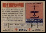 1952 Topps Wings #63   FJ Fury Back Thumbnail