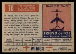 1952 Topps Wings #76   F-84 Thunderjet Back Thumbnail