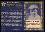 1953 Topps Who-Z-At Star #43  June Allyson  Back Thumbnail