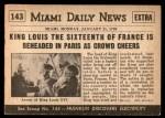 1954 Topps Scoop #143   Louis XVI Guillotined Back Thumbnail