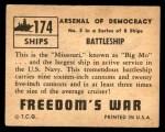 1950 Topps Freedoms War #174   Battleship  Back Thumbnail