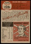 1953 Topps #126  Bill Connelly  Back Thumbnail