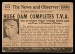 1954 Topps Scoop #153   T.V.A. Completed Back Thumbnail