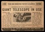 1954 Topps Scoop #156   World's Largest Telescope Built Back Thumbnail