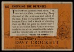 1956 Topps Davy Crockett #64   Checking The Defenses  Back Thumbnail