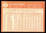 1964 Topps #35  Eddie Mathews  Back Thumbnail