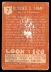 1952 Topps Look 'N See #7  Ulysses S. Grant  Back Thumbnail