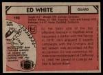 1980 Topps #190   -  Ed White All-Pro Back Thumbnail