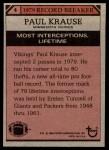 1980 Topps #4   -  Paul Krause Record Breaker Back Thumbnail