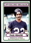 1980 Topps #4   -  Paul Krause Record Breaker Front Thumbnail