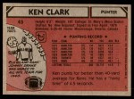 1980 Topps #43  Ken Clark  Back Thumbnail