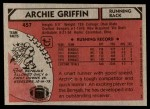 1980 Topps #457  Archie Griffin  Back Thumbnail