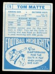 1968 Topps #178  Tom Matte  Back Thumbnail