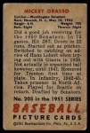 1951 Bowman #205  Mickey Grasso  Back Thumbnail
