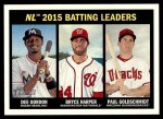 2016 Topps Heritage #240   -  Dee Gordon / Bryce Harper / Paul Goldschmidt NL Batting Leaders Front Thumbnail