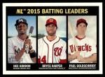 2016 Topps Heritage #240   -  Dee Gordon / Bryce Harper / Paul Goldschmidt NL Batting Leaders Front Thumbnail